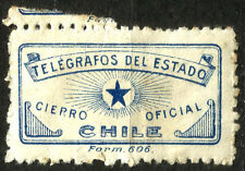 CHILE, TELEGRAPH OFFICIAL SEAL, TYPE II, DISTURBING GUM
