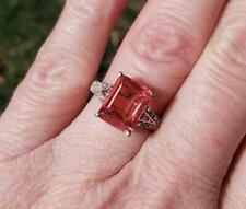 Chuck Clemency STS NYCII Padparadscha Sapphire Diamond Sterling Silver Ring Sz 5