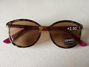 CE +2.50 DESIGNER EYE-LEVEL Women Reading Sun Readers pink purple & BROWN & case