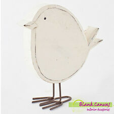 Shabby Chic Country Off White Wood and Metal Bird Standing Ornament