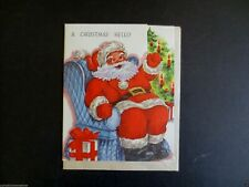 Vintage Unused Xmas Greeting Card Die Cut Santa Sitting on Chair