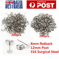 400pcs Earring Stud Posts 8mm Pads and backs Hypoallergenic Surgical Steel AU