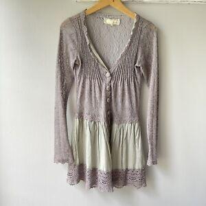 a'reve Longline Colorblock Button Down V Neck Lace Cardigan Women's Size Small