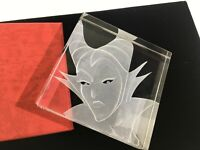 Disney Robert Guenther MALEFICENT Signed Crystal Paperweight 4x4 Desk Home DS43