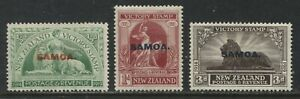 Samoa overprinted NZ 1920 Victory stamps 1/2d, 1d, and 3d mint o.g. hinged