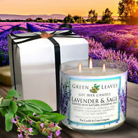 Lavender And Sage, Handmade, Hand Poured, All Natural Soy Candle, 3 Wick.