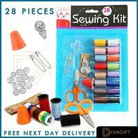 28 Piece Travel Mini Sewing Kit Thread Scissor Tape Pin Thimble Needle Home Sew