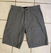 HURLEY Men's Woven Gray Viscose Flat Front Shorts Sz 31