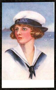 1915 WW1 SAILOR GIRL G. CHILTON ART DECO ARTIST POSTCARD