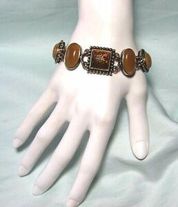 925 Sterling Silver Bracelet w Tiger Eye / Chalcedony / MOP 49.3 grams