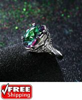 Genuine Rainbow Fire Topaz Mystic Ring Solid Fine Jewelry 925 Sterling Silver