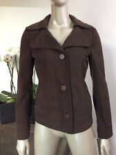 Costume National Size 40 U.S. 6 Dark Brown Cotton Leather Buttons Coat Jacket