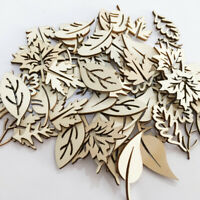 NE_ 50Pcs Wooden Hollow Tree Leaves Leaf Ornament Craft Scrapbook Sewing DIY Dec