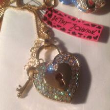 Betsey Johnson Diamond encrusted heart with key hole and key