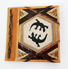 Small hand-made Photo album 2 LIZARDS sand & tree bark cover/hand-made paper new