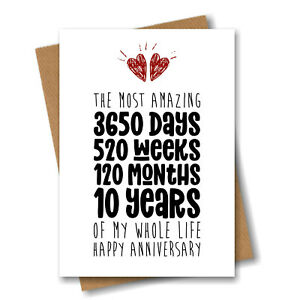10th Anniversary Card - The Most Amazing Ten Years of My Life - Him Her Wedding