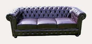 Brand New Dark Brown Bycast Leather Chesterfield 3 Seater Settee Sofa.
