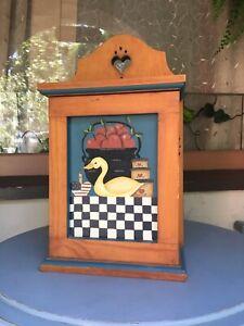 Medicine Cabinet Bathroom Vanity Cupboard Wood Americana Folk Arts & Crafts VHTF