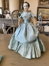 "VINTAGE BISQUE CHINA SHOULDER HEAD DOLL  17"" Rare Side Part"