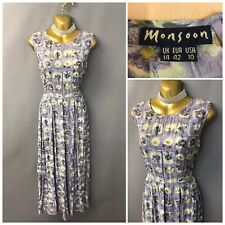 Vintage Monsoon Pale Blue Floral Dress UK 14 EUR 42 Sleeveless
