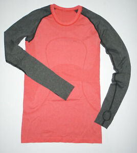 LULULEMON Long Sleeve Tech T-Shirt RUN SWIFTLY Thumb Holes Yoga CORAL/GRAY Sz 6