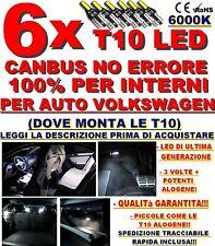 6X T10 LED CANBUS NO ERRORE 100% INTERNI VOLKSWAGEN POLO PASSAT GOLF UP VW ECC..