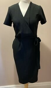 Rochelle Humes Size 10 Wrap Front Dress in Black BNWT Short Sleeves