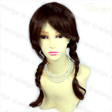 Wiwigs Long Auburn & Brown Mix Braided School Girl Style Pigtails Ladies Wig