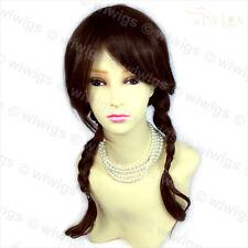Wiwigs Long Auburn & Brown Mix Braided School Girl Style Pigtails Ladies Wig