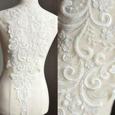 Beaded Embroidery Lace Applique for DIY Bridal Wedding Dress Costume 1 Piece