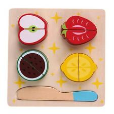 Wooden Kitchen Cut Fruits Food Pretend Play Puzzle Kids Educational Toy #gib