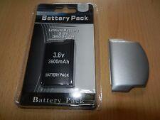 Akku Batterie Sony PSP 2000 2004 3000 3004 3600mAh Akkudeckel Dick Deckel Silber