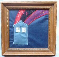 """Fabric Doctor Who Tardis wall hanging from the 1980s - 5 1/4"""" - handmade by fan"""