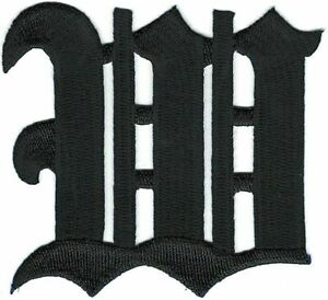 """3"""" Fancy Black Old English Alphabet Letter W Embroidered Patch"""