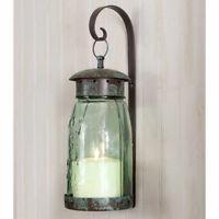 Primitive/Colonial Tin Quart Mason Jar Hanging Wall Sconce FREE SHIPPING