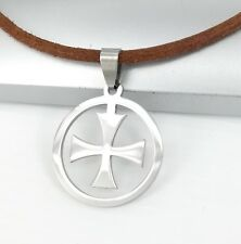 Silver Stainless Steel Knights Templar Cross Pendant 3mm Brown Leather Necklace