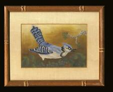 Mid 20th Century Folk Art Painting Blue Jay Signed Christine, Framed