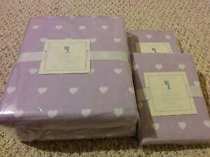 3p Pottery Barn Kids Heart Flannel Full Queen Duvet Cover Standard Sham Lavender