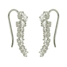 Ear Cuff Sweep Climbers Cartilage White Gold Plated Oval Cubic Zirconia Earrings