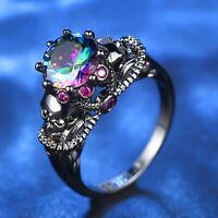 Damen Totenkopf Ring Gold Farbe Bunt Zirkonia Punk Ringe Exquisite Reizend Fein