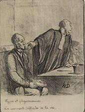 Honore Daumier France 1808 -1879 Lithograph Les Moments Difficiles Ltd Edition