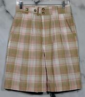 OUTBACK RED Tan Ivory Pink Plaid Shorts 12 Cotton Blend Two Pockets Summer