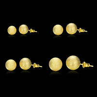 18K Gold Plated Classic Frosted Round Ball Beads Stud Earrings 6mm 8mm 10mm 12mm