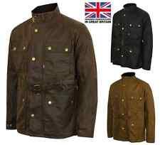 Mens Lewis Creek Motorcycle Wax Cotton Jacket Biker 100% Waxed Belted Coat
