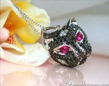 Edel: Pantherkopf Anhänger mit schwarzen Diamanten inkl. Kette 1.40ct WG750 3600