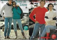 Men & Women's Arans in Totem Patons # 746 knitting pattern cable sweaters 8 ply