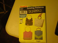 Simplicity Sewing Pattern 5567 Soft Bags (c) 2003 Uncut Never out of Package