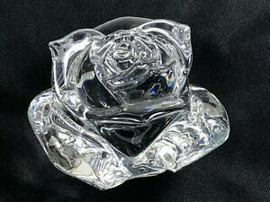 """WATERFORD CRYSTAL FLOWER ROSE TULIP PAPERWEIGHT SCULPTURE 3"""" TALL"""