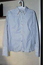 BOTTEGA ELISA CAVALETTI Button Down Striped White Shirt Blue Stripes Sz L/XL