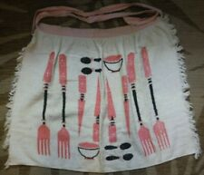 Vintage terri cloth Cannon towel apron with pink / black forks and bowls
